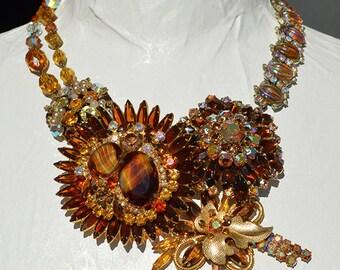 Vintage Amber Glass Aurora Borealis Rhinestone Brooch Statement Necklace