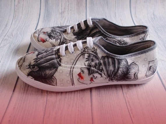 Hand Illustrated Lace Up Pumps - Mirror Mirror Size 5