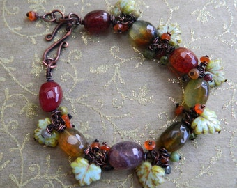 Rustic Romance ,Mixed faceted gemstone Rondelle beads, Faceted Dragon vein agate , Oxidised Copper Gemstone Bracelet