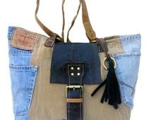 Denim Bag , Jeans Handbag, Denim Handmade Bag, Tote Bag, Handmade Bag,Bohemian Tassle Bag,  Tote , Denim Sholder Bag, Large Bag