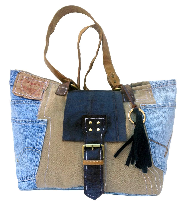 Denim Bag Jeans Handbag Denim Handmade Bag Tote Bag