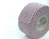 3.5 cm Cotton Bias by the roll - Checkered in Navy-Red - 10 Yards 82173