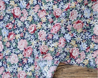 Flowers Cotton Fabric, Floral Fabric - Navy - Fabric By the Yard 86409