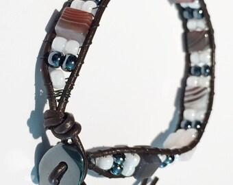 Botswana Agate Square Leather Wrap Bracelet