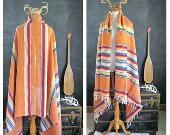 Vintage Orange Saltillo. Wool serape. Mexican Serape Saltillo Blanket Handwoven. Made in Mexico. | The Curious Moose