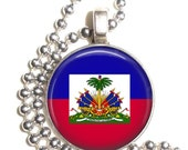 Republic of Haiti Flag Art Pendant, Earrings and/or Keychain, Round Photo Silver and Resin Charm Jewelry, Flag Earrings, Flag Key Fob