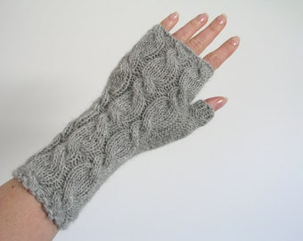 Alpaca fingerless gloves / wrist warmers hand knitted grey