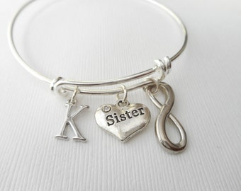 Sister, Infinity- Initial Bangle/ long distance, gift idea, miles apart, sis, wedding gift, sisters, birthday gift, sister in law, goodbye