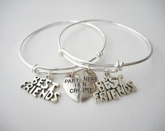 2 Partners in Crime, Best Friends Bracelets/ In crime jewelry, in crime bracelet, bff jewelry, gift ideas, Sister gift, Bff Gift, Sister