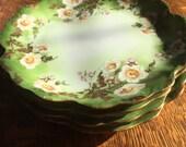 LIMOGES DESSERT PLATES / Set of 4 / Green Floral Bone China/ Limoges France / (Elite Works)  Mint Condition
