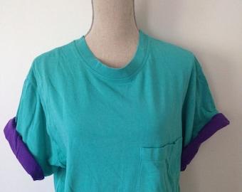 Vintage 80s Roll up Sleeve Tshirt