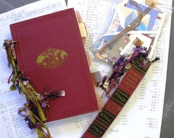 Art Journal, Junk Journal or Travel Journal handmade  with Vintage book cover- includes bookmark & bag of crafty bits for embellishment