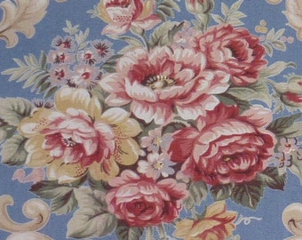 One Yard of Beautiful Vintage Cotton Print by Alexander Henry Collection Subtle Blues and Golds Roses Floral Bouquets