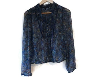 Sheer Paisley Blouse made in India APA Size M petite