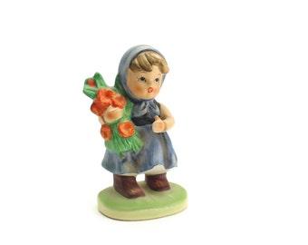 Vintage Napco Girl Figurine, Hummel Look Figurine, Girl with Flowers, Blue Girl, Our Children Figurines, Napcoware,  Epsteam