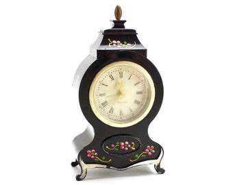 Vintage Dresser Clock, Westclox, Working Wind Up Clock, Alarm Clock, Working Clock, Bakelite 1960s, Linden, Neufchatel, Black clock, Epsteam