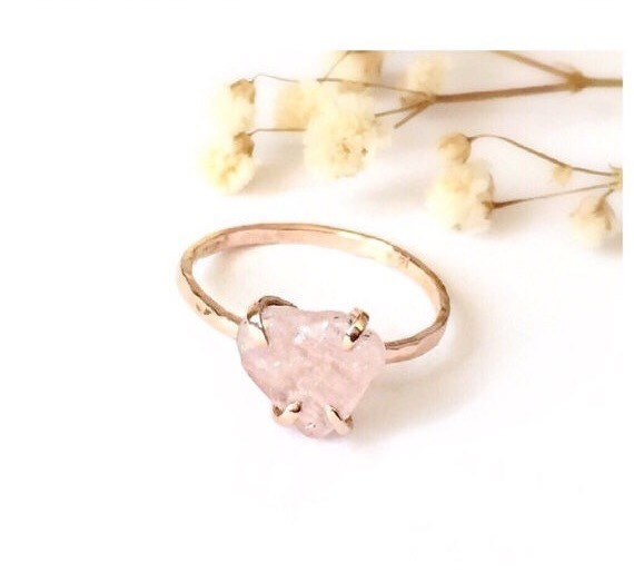 Raw Rose Quartz SOLID Gold Engagement Ring, Yoga Ring, Heart Chakra, Color of the year 2016