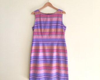 Vintage Candy Colored Striped Jumper Dress / Shift Dress / 1980s