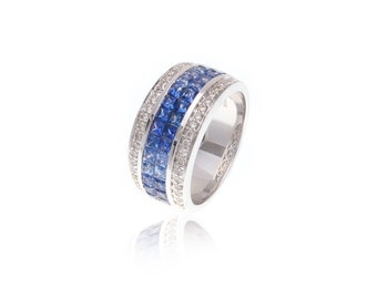 Multicolor Blue Sapphire & Diamond Invisible Set Ring 18K Gold (2.6ct tw): SKU 12460
