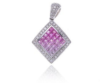 Multicolor Pink Sapphire & Diamond Rhombus Pendant 18K Gold (2.8ct tw) SKU: 21400