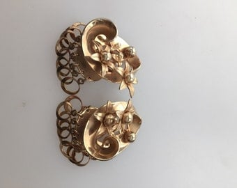 1950s Vintage Floral Three Dimensional CLIP ON Earrings Gold Plate DANGLES Never Worn Old Store Stock