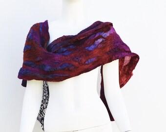 Winter Scarf Silk and Merino Wool Nuno Felted Lace