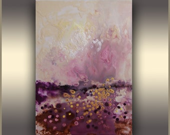 Abstract Painting Pink Purple acrylic painting ORIGINAL Art Abstract Painting, Sunset Painting, landscape painting, Abstract Landscape