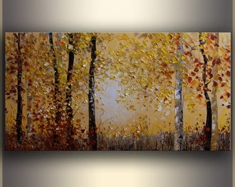 Large Oil Landscape painting ORIGINAL Art Large Art Painting Oil Painting on canvas, Art Textured painting Autumn Forest Painting by Tatjana