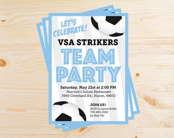 Editable Soccer Team Party Invitations - INSTANT DOWNLOAD PRINTABLE - Sky Light Blue and Black