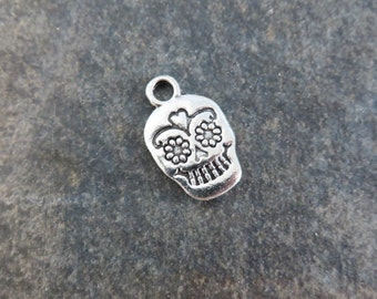 8 Day of the Dead Skull Charms Double Sided Silver Tone Halloween Jewelry Crafting Supplies 17x11 mm