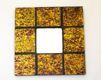 Modern Mirror, Stained Glass Mosaic, Black and Gold Decor, Decorative Mirror, Unique Home Accent, Modern Wall Art, Handmade Gifts