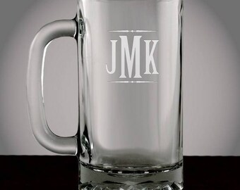 Monogrammed Glass Beer Mug