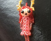 Reserved for Bianka ONLY!! Deer Girl necklace, seed bead doll, beaded doll, seed bead jewelry, beaded beads, pendant, 3d