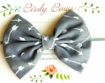 Gray with White Arrows Bow Headband, Baby Headbands, Baby Girl Headbands, Baby Girl Headbands, Infant Headbands, Baby Bows
