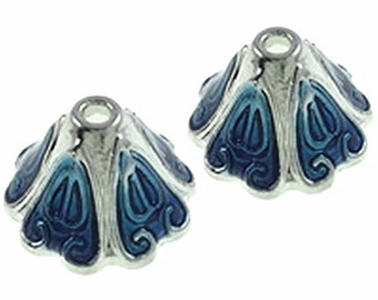 4pc 16x10mm antique silver with  enamel bead cap-9512