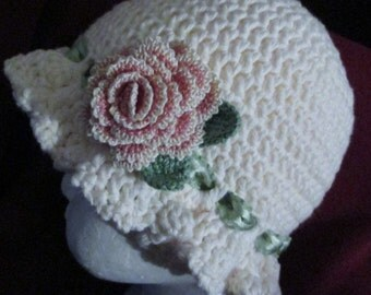 Handmade crochet Ivory cotton hat with crochet rose