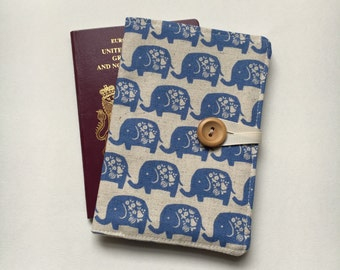 Passport cover case cute elephant walk blue fabric wooden button elephant inner pockets