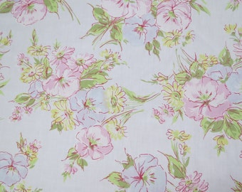 One Yard of Vintage Sheet Fabric - Pretty Pale Floral