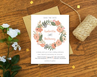 Bohemian Floral Wedding Vintage Save the Date Magnets or Card - Rustic Save the Date Cards
