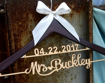 Wedding Hanger Personalized with Date and Name, Rustic Wedding Dress Hanger, Custom Wood Bridal Last Name Hanger, Bridal Shower Gift LL009