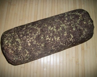"Brown Batik Bolster Pillow. Meditation Prop. Home Decor Pillow.  Buckwheat filled insert.  Zippered. 15"" x 5"". USA made"
