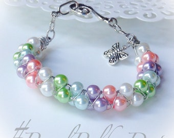 Silver Pearl Bracelet Pastel Rainbow Cuff Bracelet Tripple Wrapped Czech Pearl Wedding Bridal Jewelry.