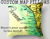 Decorative Pillow Cover, World Map Pillows Custom Throw Pillow Map Pillow, Guy Gift, World Map Pillow, 18x18 Aqua yellow and red toss pillow