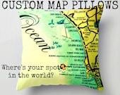 Decorative Pillow Cover, Personalized Pillows Custom Throw Pillow, Art Pillow, Guy Gift, Custom Map Pillow, 18x18 yellow and red toss pillow