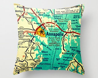 Maryland Map Pillow Cover, Custom Maryland Pillow MD Map Maryland Gift Ocean City, Annapolis, Baltimore City Map Throw Pillow, Hometown Map
