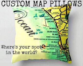 Decorative Pillow Cover, World Map Pillows Custom Throw Pillow Map Pillow, Guy Gift, World Map Pillow, 18x18 Aqua yellow and red toss pillow