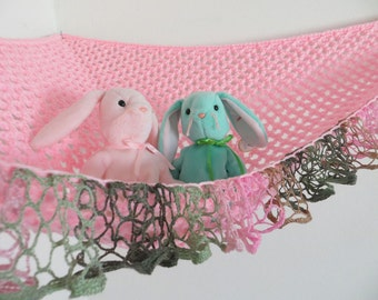 Crochet toy net hammock in pink with pink, green and brown ruffle trim, stuffed animal storage for girls room MADE TO ORDER