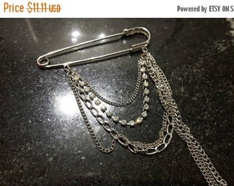 FALL SALE Safety Pin Rhinestones and Chains Brooch Silver Tone Jewellery Jewelry