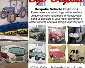 "Handmade Custom Personalised Vehicle Cushion Pillow Car Motorbike Truck 18""x18"" 45x45cm Bye Brytshi"