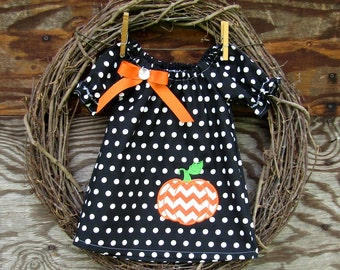 Girls Polka Dot Dress, Girls Fall Dress, Girls Black Dress,  Kids Dress,  Girls Peasant Dress, Pumpkin Applique Dress